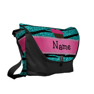 Personalized name cupcake turquoise glitter zebra courier bags