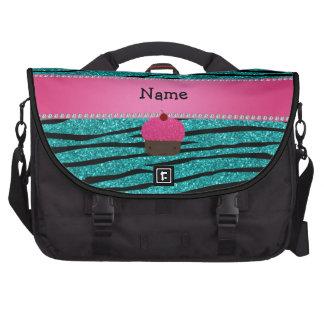 Personalized name cupcake turquoise glitter zebra laptop bag