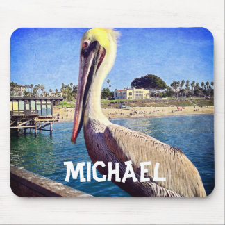 Personalized name cute beach pier pelican photo mouse pad