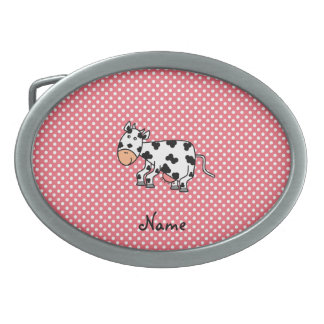 Personalized name cute cow oval belt buckle