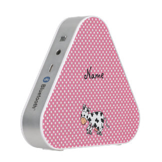 Personalized name cute cow pink white dots bluetooth speaker