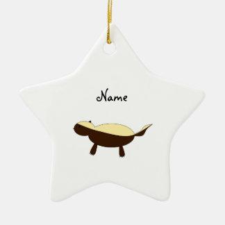 Personalized name Cute honey badger Ceramic Star Decoration