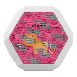 Personalized name cute lion pink damask white boombot rex bluetooth speaker