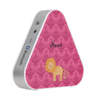 Personalized name cute lion pink damask speaker