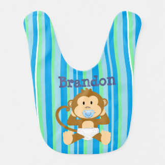 Personalized Name Cute Monkey Baby Blue Bib