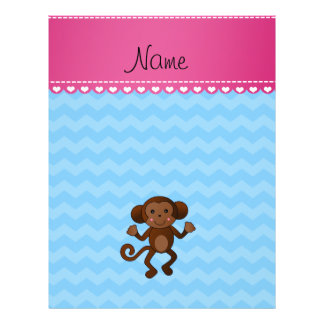 Personalized name cute monkey pastel blue chevrons full color flyer