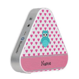 Personalized name cute owl pink hearts