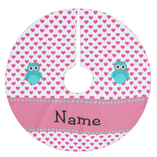 Personalized name cute owl pink hearts brushed polyester tree skirt