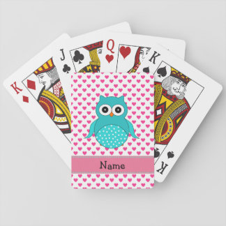 Personalized name cute owl pink hearts playing cards