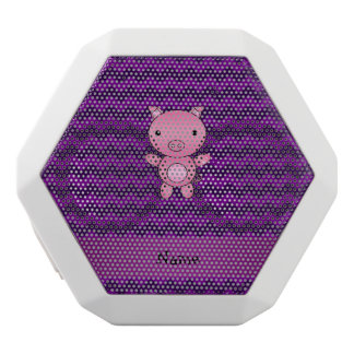 Personalized name cute pig purple chevrons white boombot rex bluetooth speaker