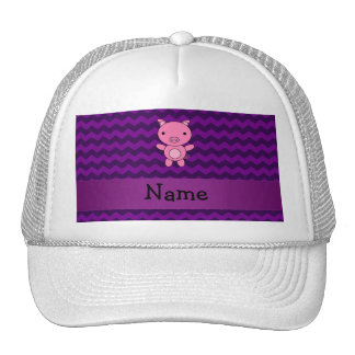 Personalized name cute pig purple chevrons hats