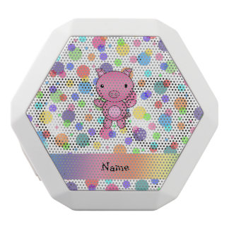 Personalized name cute pig rainbow stripes white boombot rex bluetooth speaker