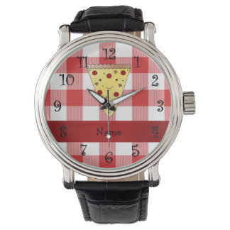 Personalized name cute pizza red checkered watch