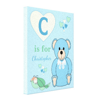Personalized name Cute Teddy Bear Nursery blue Canvas Print