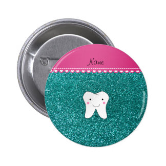 Personalized name cute tooth aqua glitter 6 cm round badge