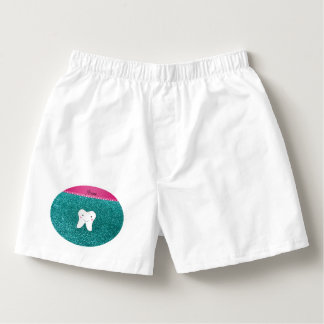 Personalized name cute tooth aqua glitter boxers
