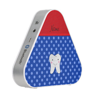Personalized name cute tooth blue polka dots