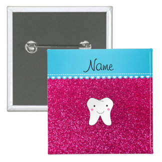 Personalized name cute tooth pink glitter 15 cm square badge
