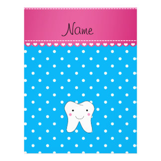 Personalized name cute tooth sky blue dots flyer design