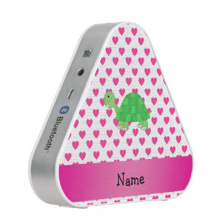 Personalized name cute turtle pink hearts speaker