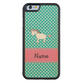 Personalized name cute unicorn turquoise dots carved® maple iPhone 6 bumper