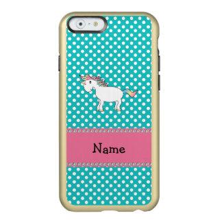 Personalized name cute unicorn turquoise dots incipio feather® shine iPhone 6 case