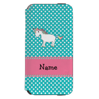 Personalized name cute unicorn turquoise dots incipio watson™ iPhone 6 wallet case