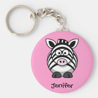 Personalized Name - Cute Zebra Keychain