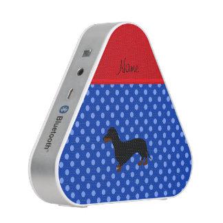 Personalized name dachshund blue polka dots speaker