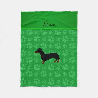 Personalized name dachshund green paws fleece blanket