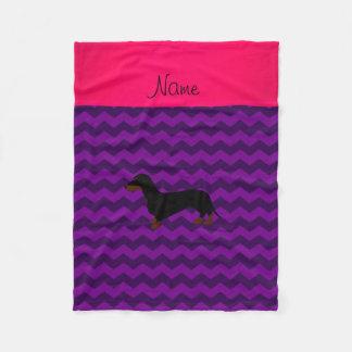 Personalized name dachshund purple chevrons fleece blanket