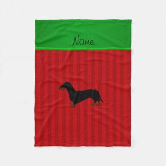 Personalized name dachshund red stripes fleece blanket