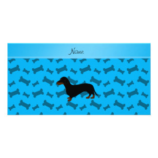 Personalized name dachshund sky blue bones photo card template