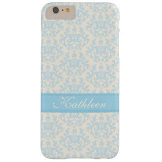 Personalized name damask light blue & cream case