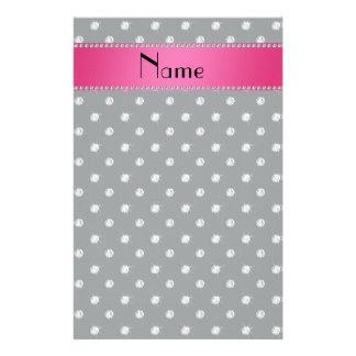 Personalized name dark gray diamonds pink stripe stationery design