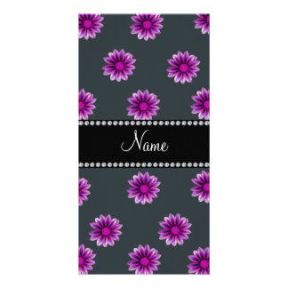 Personalized name dark gray pink purple flowers customised photo card