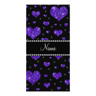 Personalized name dark purple glitter hearts photo greeting card