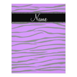 Personalized name dark purple zebra stripes flyer