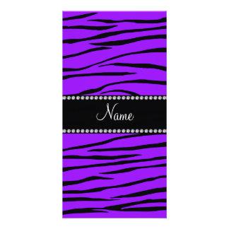 Personalized name dark purple zebra stripes photo card