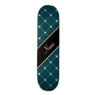 Personalized name Dark teal tuft diamonds Skate Boards