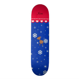 Personalized name deer blue snowflakes skateboards