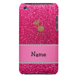 Personalized name deer rose pink glitter barely there iPod case