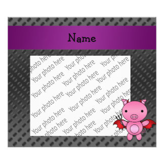 Personalized name devil pig black polka dots photographic print