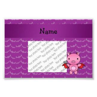Personalized name devil pig purple bats photo print