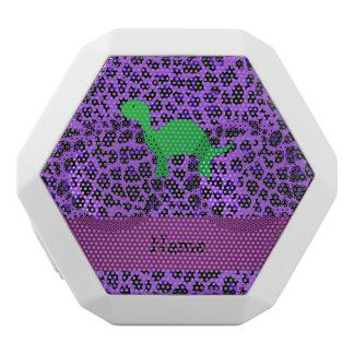 Personalized name dino purple leopard white boombot rex bluetooth speaker