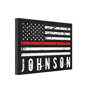 Personalized Name Distressed Firefighter Flag Canvas Print
