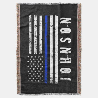 Personalized Name Distressed Police Flag Throw Blanket
