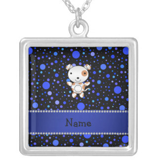 Personalized name dog black blue polka dots personalized necklace