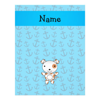 Personalized name dog blue anchors pattern full color flyer
