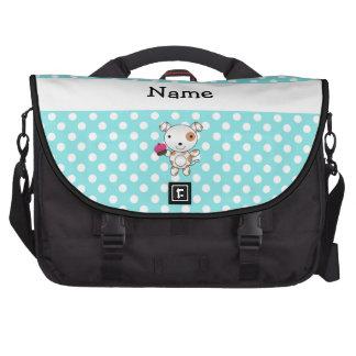 Personalized name dog cupcake blue polka dots laptop messenger bag